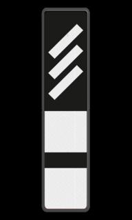 Bord Aanduiding van de nadering van een P-sein dat voorafgaat aan een hoofdsein zonder P. Bord Reflectorplaten schuine strepen + 2 plaatjes - RS 251b - 200x900mm - Reflecterend BB RS 251b