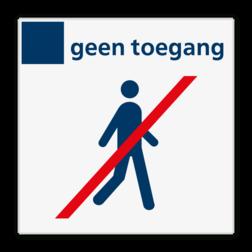 Verbodsbord Aan het einde van perrons wordt een bord geplaatst om aan te geven dat reizigers niet verder het perron af mogen wandelen. Hiervoor wordt een pictogram toegepast: de zogenoemde 'Homan'. Verbodsbord geen toegang - Reflecterend BW VB