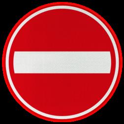 Verkeersbord Eenrichtingsweg, in deze richting gesloten voor voertuigen, ruiters en geleiders van rij- of trekdieren of vee Verkeersbord RVV C02 - Eenrichtingsweg, in deze richting gesloten C02