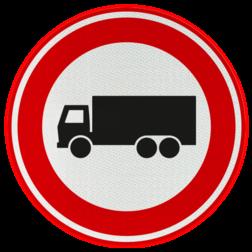 Verkeersbord Gesloten voor vrachtwagens: motorvoertuig, niet ingericht voor het vervoer van personen, waarvan de toegestane maximum massa meer bedraagt dan 3500 kg Verkeersbord RVV C07 - Gesloten voor vrachtauto's C07