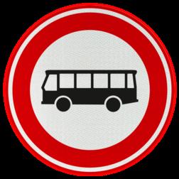 Verkeersbord Autobus is : motorvoertuig, ingericht voor het vervoer van meer dan acht personen, de bestuurder daaronder niet begrepen Verkeersbord RVV C07a - Gesloten voor bussen C07a verbodsbord, verboden voor autobussen, geen bussen, verboden, c7