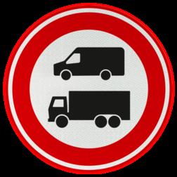 Verkeersbord Gesloten voor bedrijfs- en vrachtauto's vanwege nul-emissiezone Verkeersbord RVV C22c Einde nul-emissiezone C22c