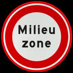 Verkeersbord Gesloten voor personen- en bedrijfsauto's of vrachtauto's met een dieselmotor vanwege milieuzone. Verkeersbord RVV C22a - Begin milieuzone C22a