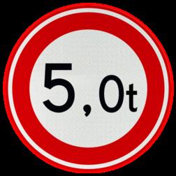 Verkeersbord Gesloten voor voertuigen en samenstellingen van voertuigen waarvan de totaalmassa hoger is dan op het bord is aangegeven Verkeersbord RVV C21 - Gesloten voor te zware voertuigen C21 verbodsbord, verboden, gewicht, C21, ton, totaalmassa, gesloten verklaring