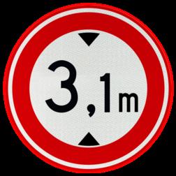 Verkeersbord Gesloten voor voertuigen en samenstellingen van voertuigen die, met inbegrip van de lading, hoger zijn dan op het bord is aangegeven Verkeersbord RVV C19 - Gesloten voor te hoge voertuigen C19