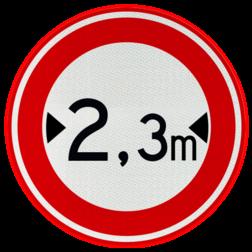 Verkeersbord Gesloten voor voertuigen en samenstellingen van voertuigen die, met inbegrip van de lading, breeder zijn dan op het bord is aangegeven Verkeersbord RVV C18 - Gesloten voor te brede voertuigen C18