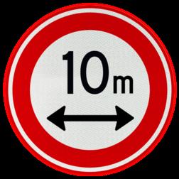 Verkeersbord Gesloten voor voertuigen en samenstellingen van voertuigen die, met inbegrip van de lading, langer zijn dan op het bord is aangegeven Verkeersbord RVV C17 - Gesloten voor te lange voertuigen C17