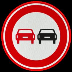 Verkeersbord Verbod voor motorvoertuigen om elkaar onderling in te halen Verkeersbord RVV F01 - Voertuigen - verboden in te halen F01