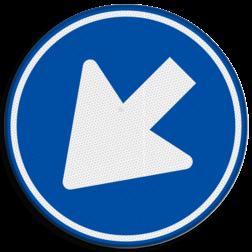 Verkeersbord Gebod voor alle bestuurders het bord voorbij te gaan (passeren) aan de zijden die de pijlen aangeven. Verkeersbord RVV D02l - Gebod links te passeren D02l