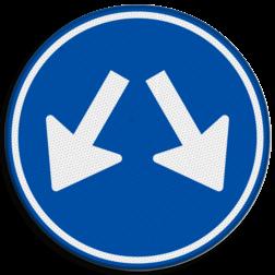 Verkeersbord Gebod voor alle bestuurders het bord voorbij te gaan aan de zijden die de pijlen aangeven Verkeersbord RVV D03 - Gebod te passeren aan 2 zijden D03