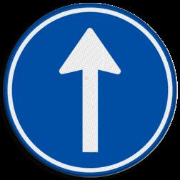 Verkeersbord Gebod tot het volgen van de rijrichting of één van de rijrichtingen die op het bord zijn aangegeven Verkeersbord RVV D04 - Verplichte rijrichting rechtdoor D04