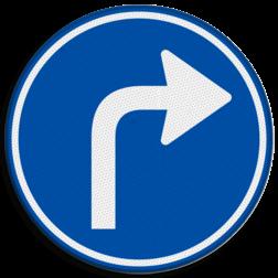 Verkeersbord Gebod tot het volgen van de rijrichting of één van de rijrichtingen die op het bord zijn aangegeven Verkeersbord RVV D05r - Verplichte rijrichting rechtsaf D05r