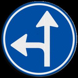 Verkeersbord Gebod tot het volgen van de rijrichting of één van de rijrichtingen die op het bord zijn aangegeven Verkeersbord RVV D06l - Verplichte rijrichting rechtdoor of linksaf D06l