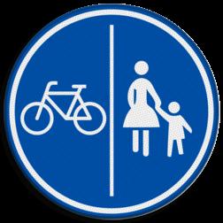 Verkeersbord Verplicht fietspad en voetpad Verkeersbord RVV G11a - Gescheiden fiets- en voetpad G11a
