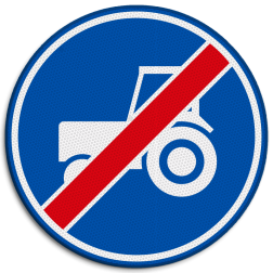 Verkeersbord Einde verplicht gebruik passeerstrook, uitsluitend bestemd voor motorvoertuigen die niet sneller kunnen of mogen rijden dan 25 km/h. Verkeersbord RVV F12 - Einde passeerstrook langzaam verkeer F12 Tractor