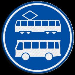 Verkeersbord Rijbaan of rijstrook uitsluitend ten behoeve van lijnbussen en trams. Verkeersbord RVV F17 - Rijbaan of -strook bus en tram F17
