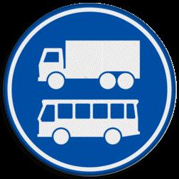 Verkeersbord Rijbaan of rijstrook uitsluitend ten behoeve van lijnbussen en vrachtverkeer. Verkeersbord RVV F19 - Rijbaan of -strook bus en vrachtverkeer F19