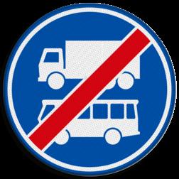 Verkeersbord Einde rijbaan of rijstrook uitsluitend ten behoeve van lijnbussen en vrachtverkeer. Verkeersbord RVV F20 - Einde rijbaan of -strook bus en vrachtverkeer F20