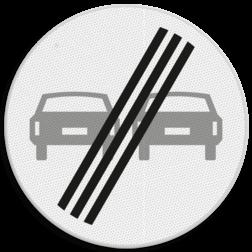 Verkeersbord Einde verbod voor motorvoertuigen om elkaar onderling in te hale Verkeersbord RVV F02 - Einde inhaalverbod voertuigen F02