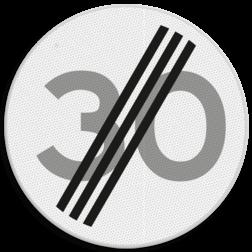 Verkeersbord Einde maximum toegestane snelheid 30 kilometer per uur Verkeersbord RVV A02-30 - Einde maximum snelheid A02-030