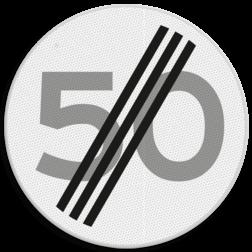 Verkeersbord Einde maximum toegestane snelheid 50 kilometer per uur Verkeersbord RVV A02-00 vrij invoerbaar - Einde maximum snelheid A02-050