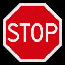 Verkeersbord STOP; verleen voorrang aan de bestuurders op de kruisende weg Verkeersbord RVV B07 - Stoppen voor voorrangsweg B07