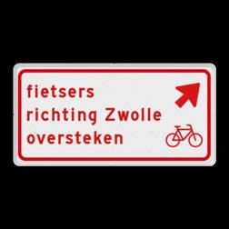 Verkeersbord fietsers moeten hier schuin links oversteken voor de richting naar de genoemde plaats. Verkeersbord RVV BW09rb - fietsers richting plaats oversteken BW09rb