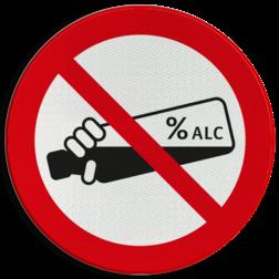 Verkeersbord Verboden alcohol te nuttigen Verkeersbord - Verboden alcohol te drinken cadeau, kado,