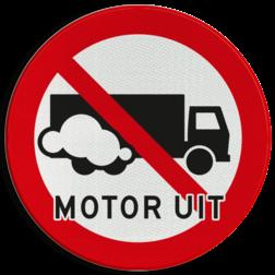 Verkeersbord Motor uitschakelen - vrachtauto Verkeersbord Motor uitschakelen - Vrachtwagen
