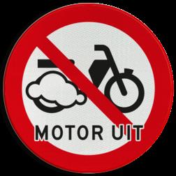 Verkeersbord Motor uitschakelen - Bromfietsen Verkeersbord Motor uitschakelen - Bromfietsen