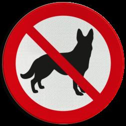Verbodsbord Verboden hond uit te laten Verbodsbord Verboden voor honden (herdershond)