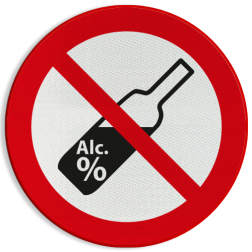 Verbodsbord Verboden alcohol te nuttigen in het openbaar. Verbodsbord - Alcohol verboden