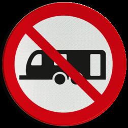 Verbodsbord Verboden voor dubbelasser caravans Verbodsbord - Grote caravans verboden