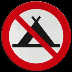 Verbodsbord Verboden te kamperen met tent Verbodsbord - Kamperen met tent verboden