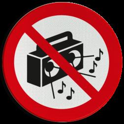 Verbodsbord Radio met harde muziek verboden Verbodsbord - Harde muziek verboden