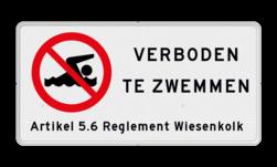 Verkeersbord VERBODEN TE ZWEMMEN + eigen tekst Verkeersbord Zwemmen verboden - met tekst