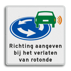 Verkeersbord Attentiebord richting aangeven op rotonde Verkeersbord - D01 - Richting aangeven op rotonde OV D01