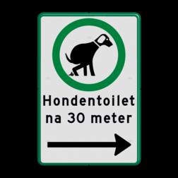 Verkeersbord Hond G + Verboden toegang art. 461. Verkeersbord hondenuitlaatplaats (HUP's) - Picto, tekst en pijl
