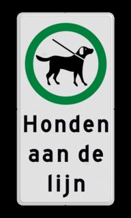 Verkeersbord Honden aan de lijn Verkeersbord honden aangelijnd toegestaan - Picto en tekst