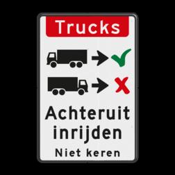 Verkeersbord Vrachtwagens achteruit inrijden of inparkeren Verkeersbord - vrachtwagens achteruit inrijden BT16a-NL trucks, engels, achteruit, inparkeren, vrachtwagen, Back-in, No turnaround