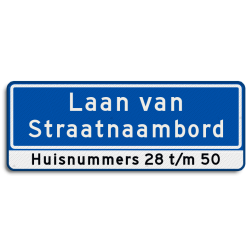 Straatnaambord 2 regelige Straatnaambord met huisnummerverwijzing Straatnaambord 28 karakters 800x300mm 2 regelig + huisnummers NEN 1772 N09h1