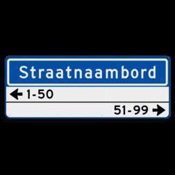 Straatnaambord 14 karakters 800x300 mm + 2 regelig huisnummers NEN 1772 N08h2lr