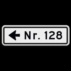 Huisnummerbord 08 karakters 500x150 mm met pijl NEN 1772