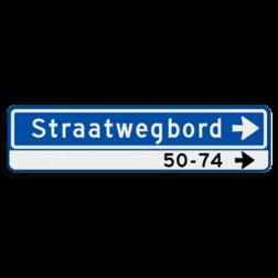 Straatnaambord Straatnaambord met huisnummerverwijzing rechts Straatnaambord 14 karakters 800x200 mm pijl rechts + Huisnummers NEN 1772 N08h1r
