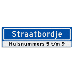 Straatnaambord KOKER 700x200mm - max. 12 karakters - met huisnummers - NEN1772