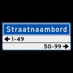 Straatnaambord 14 karakters 1000x400mm 1 regelig + 2 regelige huisnummers NEN 1772