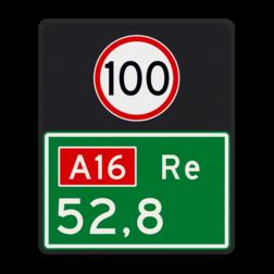 Hectometerbord Hectometerbord Snelweg Hectometerbord BB08 re 500x600mm met A01100 BB08-01-100-r