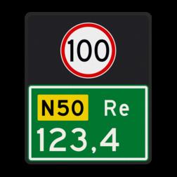 Hectometerbord Hectometerbord Autoweg Hectometerbord BB09 Re 500x600mm met A01-100 BB09-01-100-r