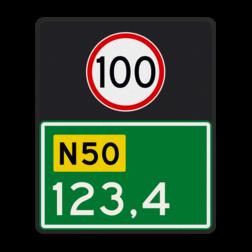 Hectometerbord Hectometerbord Autoweg Hectometerbord BB09 500x600mm met A01-100 BB09-01-100