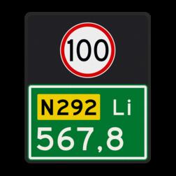 Hectometerbord Hectometerbord Autoweg Hectometerbord BB10 Li 500x600mm met A01-100 BB10-01-100-l